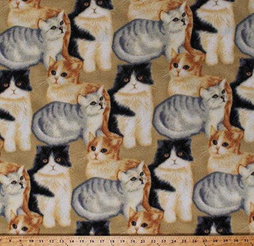 (Fleece Cats Kittens Kitty Kitties Felines Pets Animals Gray Orange Black and White Cats on Beige Fleece Fabric Print by The Yard (43432-5b))