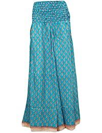 Womens Maxi Skirts Vintage Recycled Silk Sari Smocked Waist Divided Boho Long Skirt