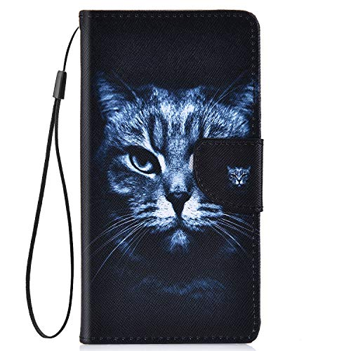 IKASEFU Compatible with Samsung Galaxy S8 Plus Pu Leather Wallet Strap Case Card Slots Shockproof Magnetic Leather Folio Flip Book Cover Painted with Card Slots Stand Protective Case,Black cat