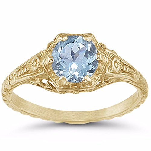 Antique-Style Victorian-Era Floral Aquamarine Ring in 14K Yellow Gold - Size 5 ½ 14k Yellow Gold Victorian Antique