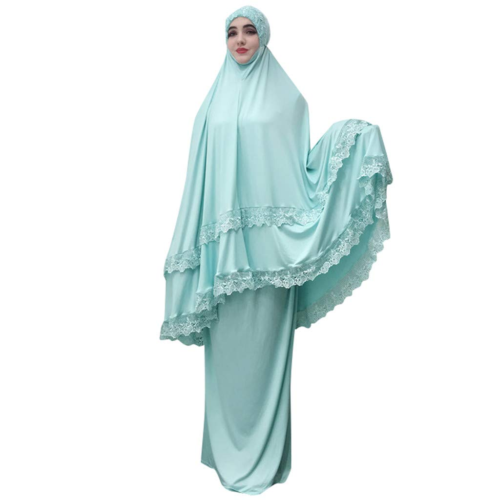 Muslim Ouble-Layered Large-Scale Mosque Lace Robes Women Dubai Cardigan Ramadan Blue