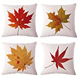 BPFY Cotton Linen Leaves,Maple Leaf Cushion Covers 18 x 18 Inch...