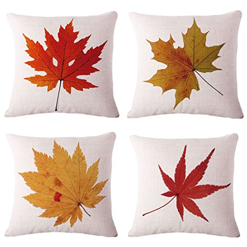 BPFY Cotton Linen Leaves,Maple Leaf Cushion Covers 18 x 18 Inch Sofa Fall Home Decor Throw Pillow Case Pillow Covers Set of 4