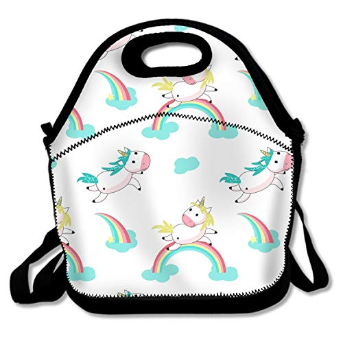 Magic Unicorn With Rainbow Lunch Tote Insulated Reusable Picnic Lunch Bags Boxes For Men Women Adults Kids Toddler Nurses