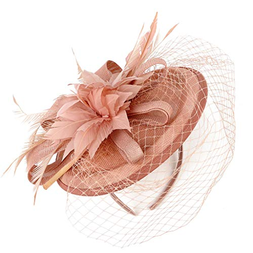 YESWOMAN Women's Lace Hollow Fascinate Retro Hat Cocktail Party Hat Hair Clip Headband Braided Handmade