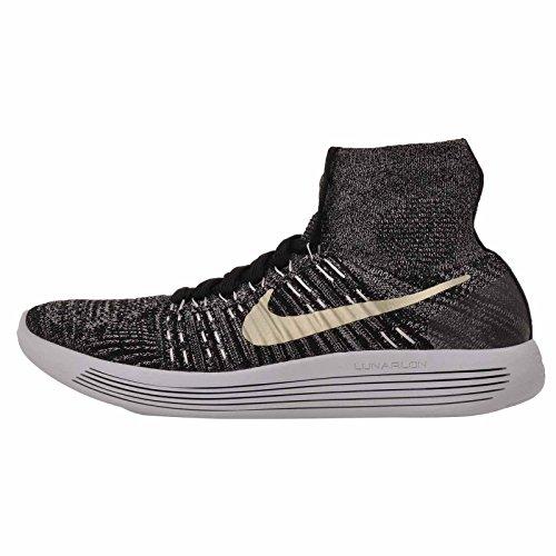 Nike Mens Lunarepic Flyknit Bhm, Nero / Metallico Stella Doro - Bianco, 8,5 M Us