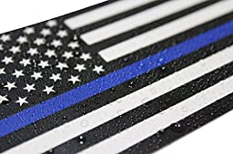 Thin Blue Line Flag Decal - 3x5 in. Black, White, and Blue American Flag Sticker for Cars and Trucks - In Support of Police and Law Enforcement Officers (1)