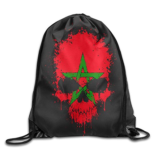 Moroccan Flag Skull Personalized Gym Drawstring Bags Travel Backpack Tote School Rucksack
