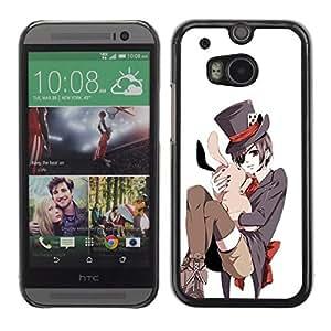 MobileHut / HTC One M8 / Japanese Bunny White Pink Top Hat / Delgado Negro Plástico caso cubierta Shell Armor Funda Case Cover