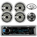New Kenwood In Dash Marine Boat Yacht Bluetooth Digital USB AUX iPod iPhone AM/FM Radio Stereo Player & Kenwood KCA-RC35MR Wired Remote Control for Kenwod Marine Stereo With 4 X 6.5