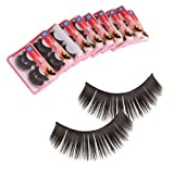 mefeir 20 Pairs Long Black Thick Handmade Natural Soft False Eyelashes Eye Lash with Eyelash Adhesives Glue HR133