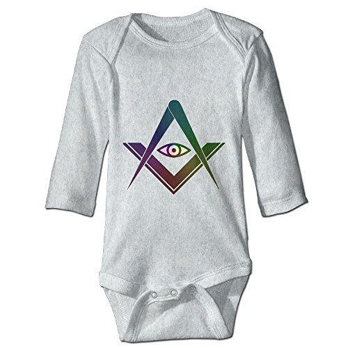 Masonic Square Compass God Eyes Symbol Clipart Long Sleeve Baby Onesies For Unisex Boys Girls 100% - Clipart God