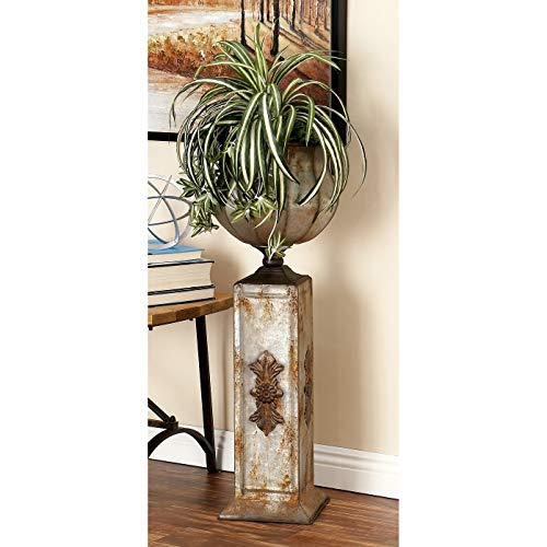 Studio 350 Set of Rustic 34 and 40 Inch Iron Pedestal Urn Planters by