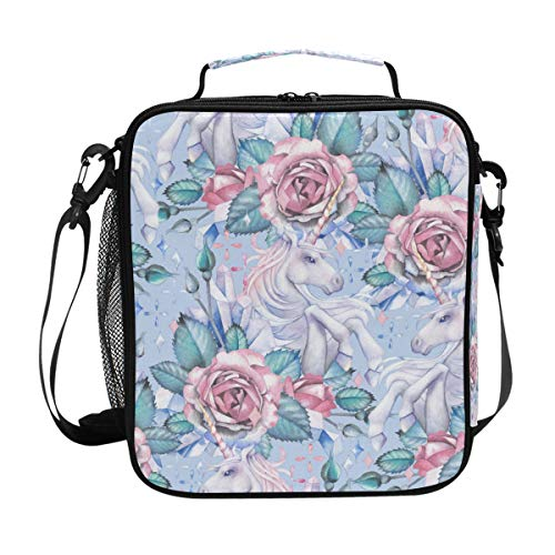(Large Lunch Bag Unicorn And Rose Vignette Insulated Lunch Boxes Cooler Lunch Tote with Shoulder Strap for Girls Boy)