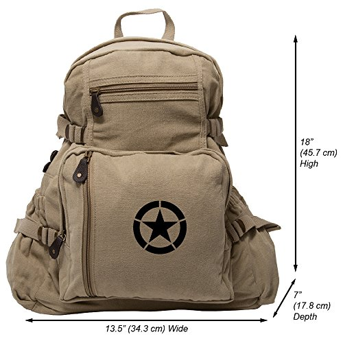 Army Force Gear WWII Military Invasion Star Backpack Vintage Style School Bag - Khaki & Black, Large