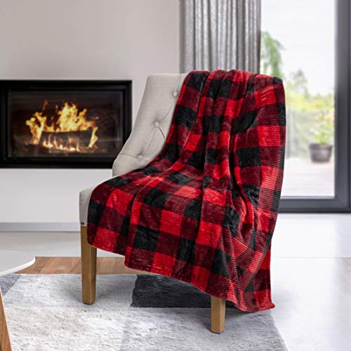 Safdie & Co. Flannel Printed Ribbed 50x60 Red Plaid Ultra Soft Throw, Charcoal
