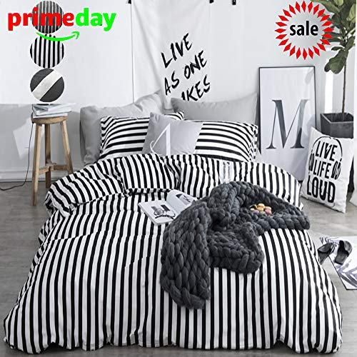 CLOTHKNOW Duvet Cover Queen Stripe Black and White Striped Bedding Set Ticking Teen Boys Girls 100 Cotton Zipper Closure 3 pcs 1 Comforter Cover 2 Envelope Pillowcases