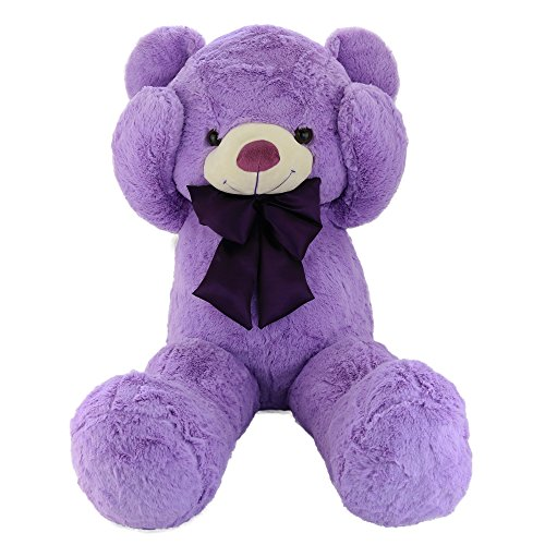 Wewill Easter Gift Cuddly Large Teddy Bear Stuffed Animals with Violet Bowtie, 39 inch, (Giraffe Newborn Teddy Bears)