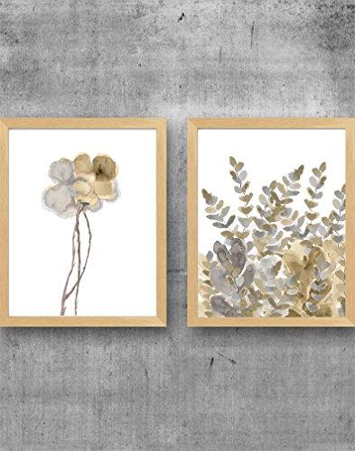 Neutral Wall Decor, Set of 2 -11x14 Floral Prints, UNFRAMED ()