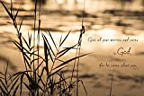 He Cares about You Unframed Christian Wall Art Nature Photography Religious Gift Sunset Home Decor Monochrome Print Bible Verse Typography Zen Photo 5x7 8x10 8x12 11x14 12x18 16x20 16x24 20x30