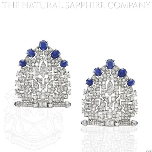 Pair of Large Art Deco Platinum, Cabochon Sapphire and Diamond Dress Clips. (Art Deco Platinum Diamond Sapphire)