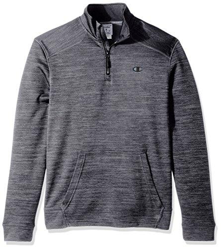 Champion Men's Premium Performance Fleece Quarter-Zip Pullover, Concrete Heather/Black, Medium