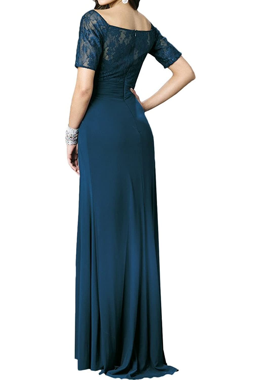 Milano Bride Elegant Spitze Abendkleider Brautmutter Kleider mit Aermel  Bodenlang Strass A-Linie: Amazon.de: Bekleidung
