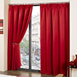 Luxury Thermal Supersoft Blackout Curtains Red (46 Wide x 90 Drop) by Tonys Textiles