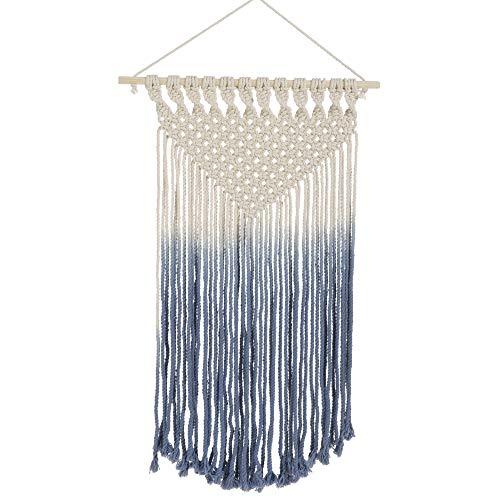 (Raz Macrame Hanging Blue White Ombre 27 x 16 Cotton Fabric Wall Art Sculpture)