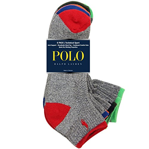 (Polo Tipped Sport Quarter Socks 6 Pack Grey One Size)