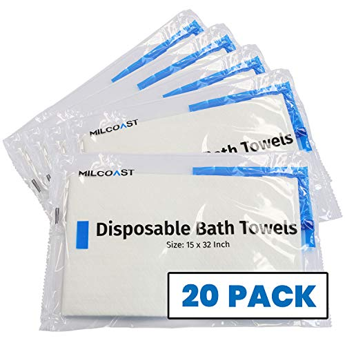"""Milcoast Disposable Bath and Body Towels 15"""" x 32"""" for Traveling, Hotels, Gyms Beach, Camping, Patient Care (20 Pack)"""