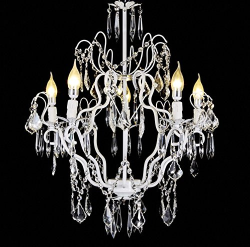 Top Lighting Crystal Chandelier White Wrought Iron 5-Light Pendant Ceiling Lighting