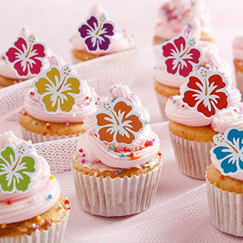 50Pcs Cupcake Toppers For Hawaiian Luau Summer Flamingo Tropical Party Decorations Supplies Cake Decoration]()