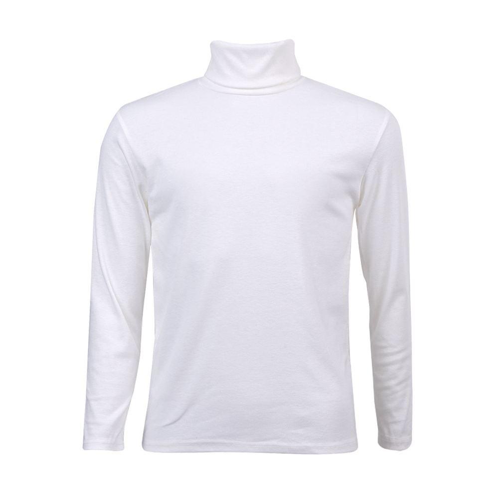 SODIAL(R) Moda para Hombre otono invierno de cuello alto sueter camisa patron puro Jersey Blanco - XXL
