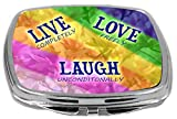 Rikki Knight Compact Mirror, Live Love Laugh Flower Rainbow