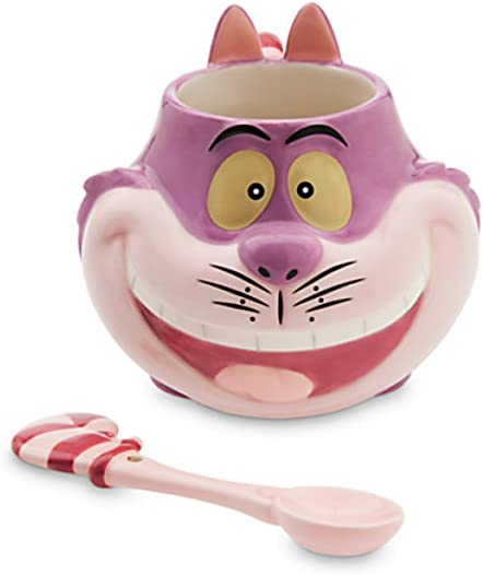 Disney Authentic Cheshire Cat Matching Ceramic Mug and Spoon Set NEW
