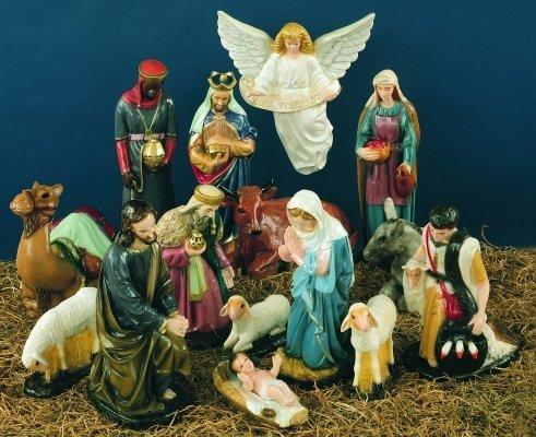 36 inch Outdoor Nativity Manger Full Set - Vinyl, White Finish S.A.P. Inc.