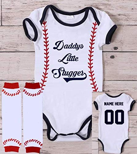 Personalized Daddys Little Slugger Baseball Onesie Shirt