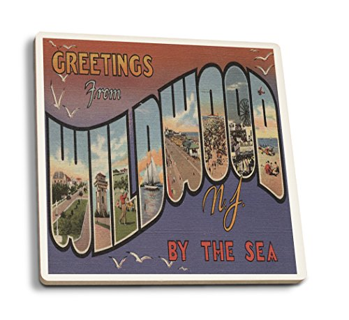 Lantern Press Greetings from Wildwood by-The-Sea, NJ (White Trim) (Set of 4 Ceramic Coasters - Cork-Backed, ()