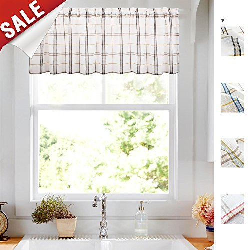 Geometry Valances for Windows White Linen Look Black and Taupe Gingham Half Window Kitchen Curtains 1 pc 18 Inch Long (Beige And Check Red Curtains)