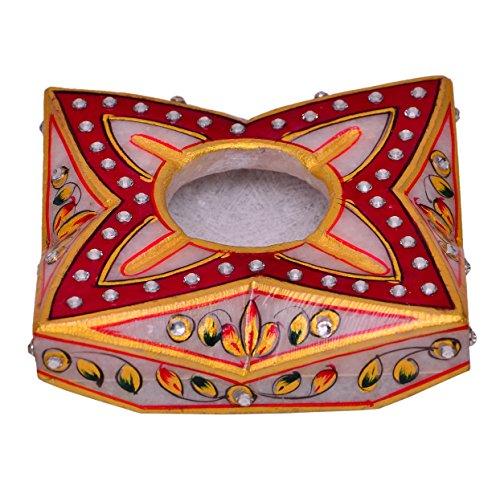 Purpledip Indian gift item: Handpainted Marble Ashtray (10576)