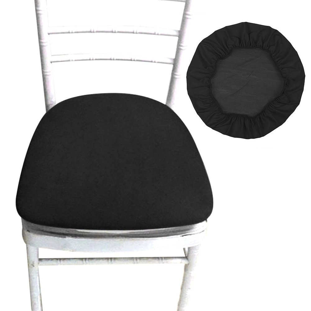 Sundlight Chair Seat Covers, Removable Elastic Stretch Polyester Stool Chairs Covers Dust-proof Round Slipcover for Dining Room Patio Office Chair,Bar Stools (6PCS, Black) by Sundlight
