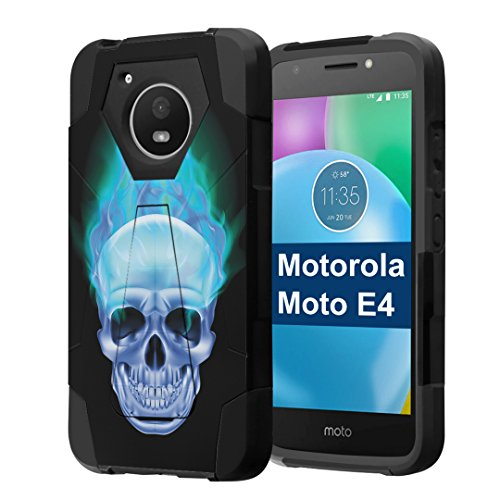 Moto E4 Case, Capsule-Case Hybrid Fusion Dual Layer Shockproof Combat Kickstand Case (Black) for Motorola Moto E4 2017 (Moto E 4th Generation) - (Blue Flame Skull) ()