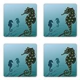 Lunarable Animal Coaster Set of Four, Seahorse