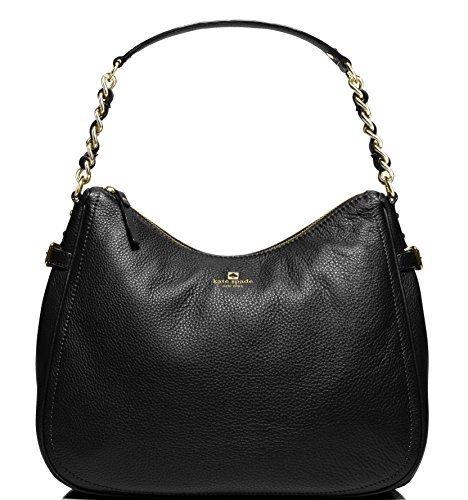 Kate Spade Pine Street Finley Leather Hobo Bag, Black (Bag Leather Chain Black Shoulder Link)