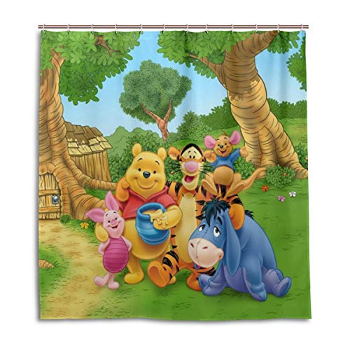 MESKERIA Winnie The Pooh Shower Curtain Waterproof Polyester Fabric Bathroom Shower Curtain Fabric Shower Curtain 12 Hooks 66 x 72 inches