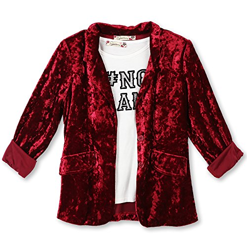 Speechless Big Girls' Crushed Velvet Blazer With Tee, Nodrama Burgundy, - Velvet Big Shirt