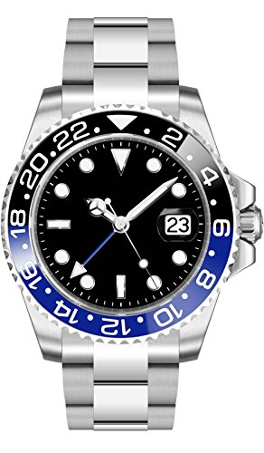 Sapphire Crystal 40MM Black Dial Blue Black Ceramic Bezel GMT Automatic Movement Men