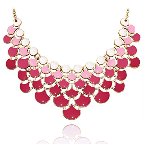JANE STONE Fan Statement 2019 Fashion Resin Frontal Bib Clothing Pink Peacock Necklace Popular Jewelry (Costume Fashion Jewelry Necklace)