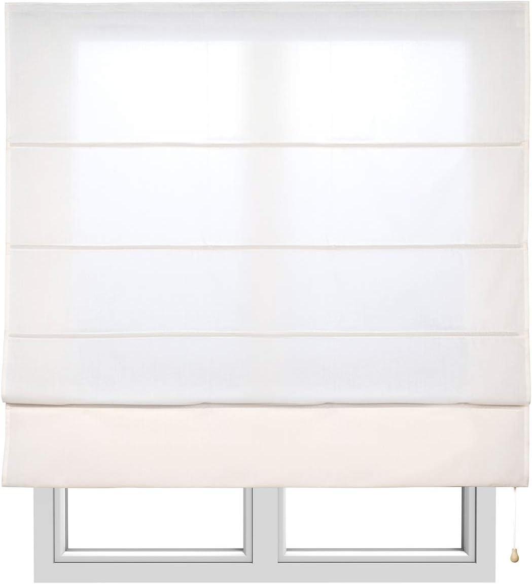 STORESDECO Estor Plegable con Varillas, Estor translúcido para Ventanas y Puertas (120 cm x 175 cm, Crudo)
